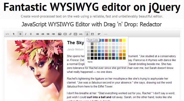 JavaScript WYSIWYG Editor With Drag 'n' Drop : Redactor