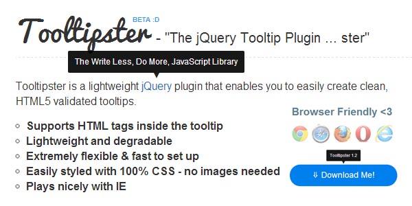 jQuery Lightweight Tooltip Plugin :Tooltipster