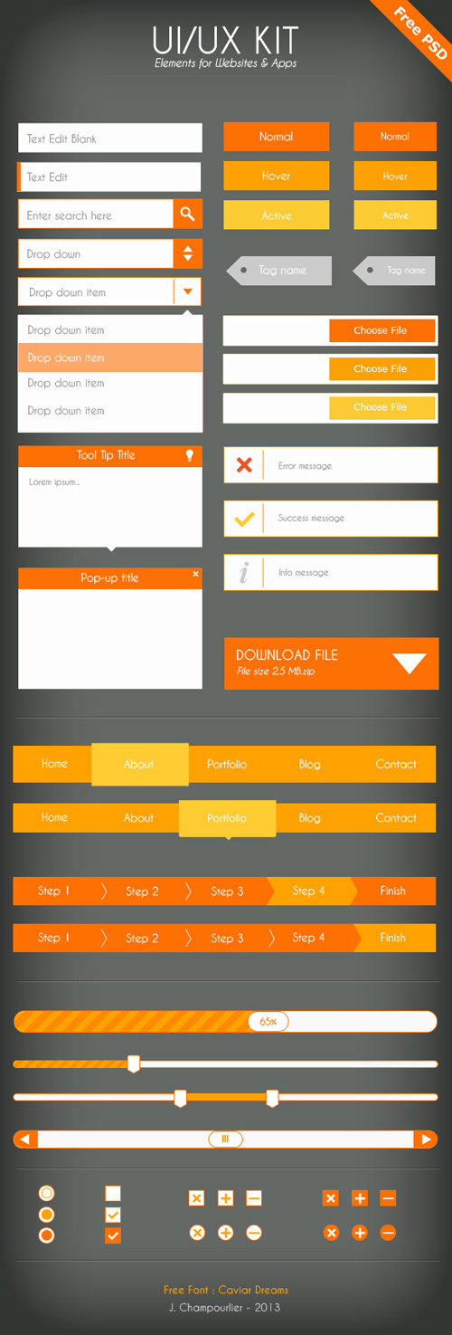 Flat Icons and Web Elements for UI Design-24
