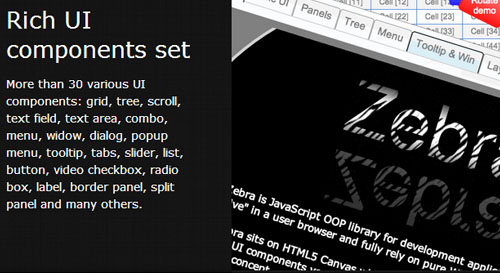 Zebra: Desktop-Like User Interface With HTML5 Canvas
