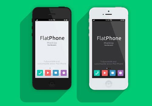 Flat iPhone 5 PSD mockup