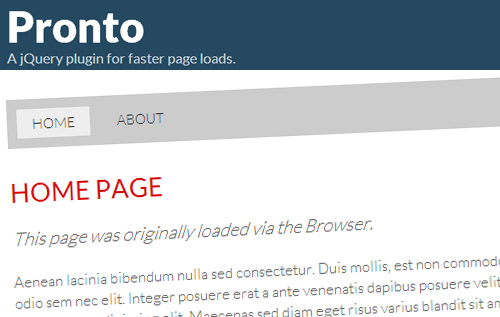 Pronto: A jQuery Plugin for Increases Your Website Loading Time