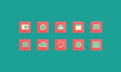 Square Flat Design Icons Set