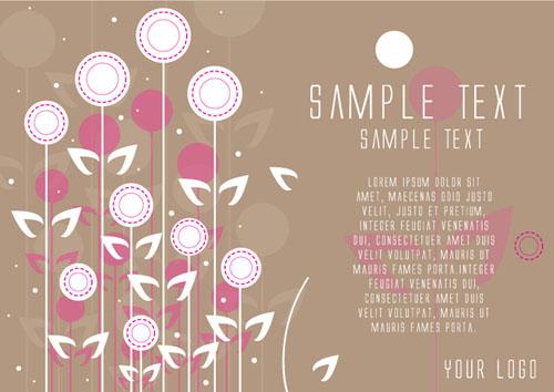 Flowers Card Brochure Design Vector Graphics