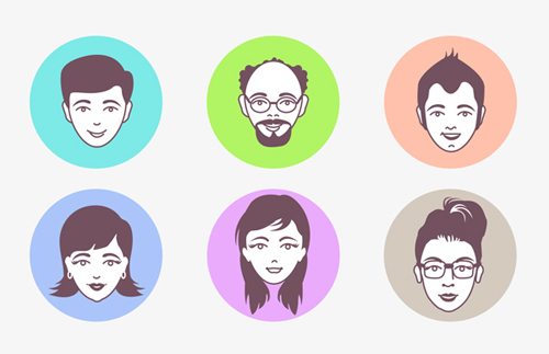 Male And Female Avatar Vector Faces Graphics