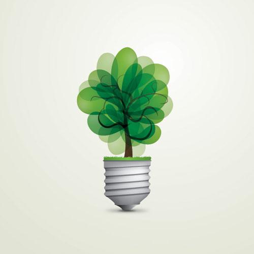 Green Light Bulb Vector Graphic