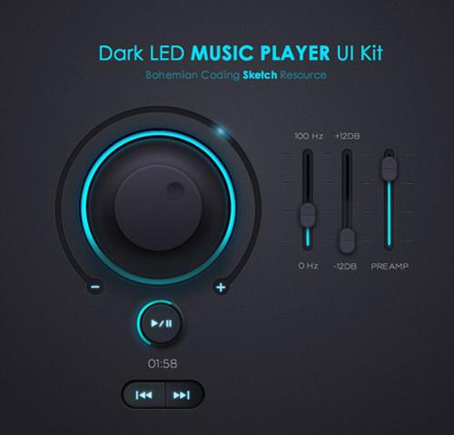 Dark LED Music Player UI KIT