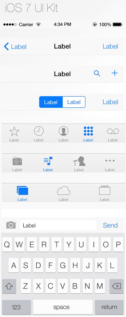 Download iOS7 UI Kit PSD