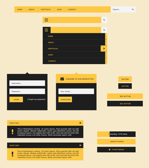 UI Flat Design Kit - Free PSD