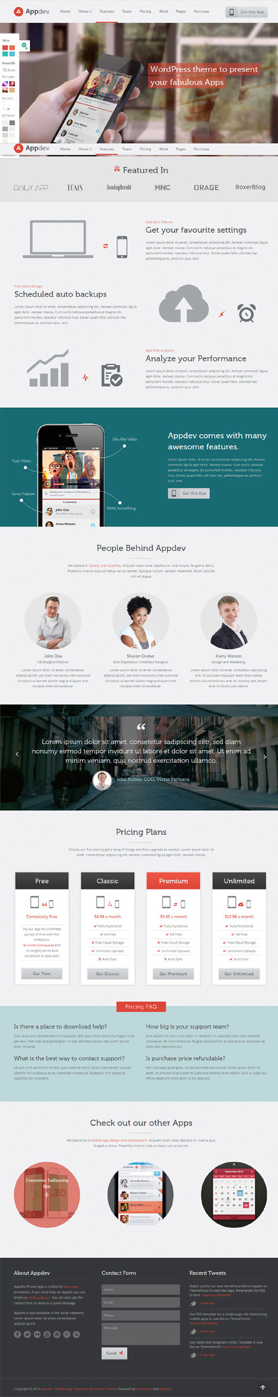 Appdev – Mobile App Showcase WordPress Theme