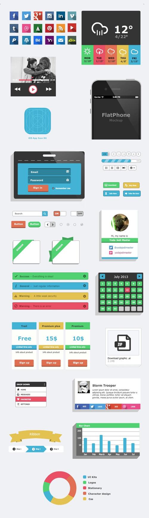 Freebie - Flat UI Kit .ai and .eps