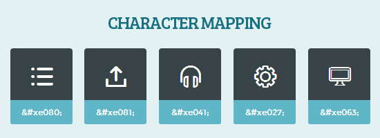 Vector icon font character mapping