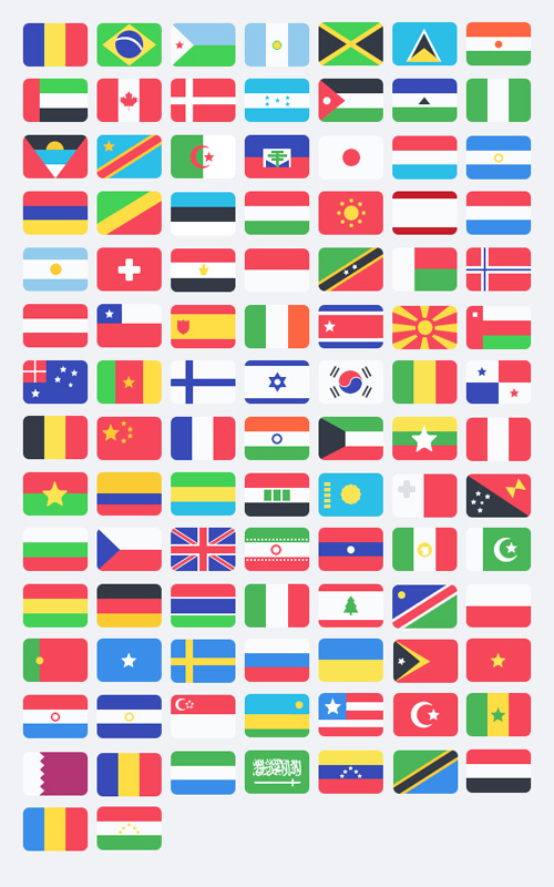 100 Free Flat Flags (PSD) Free PSD File