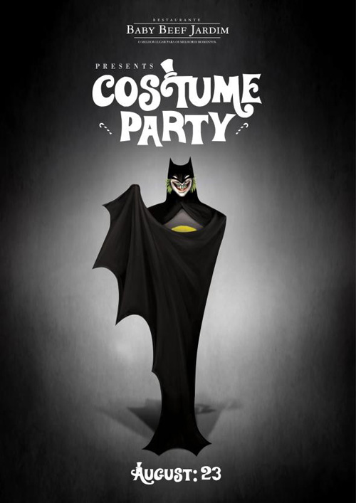 Baby Beef Jardim: Costume Party, Joker Print Advertising