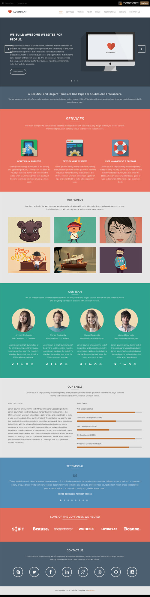 Lovinflat - One Page Bootstrap 3 Template