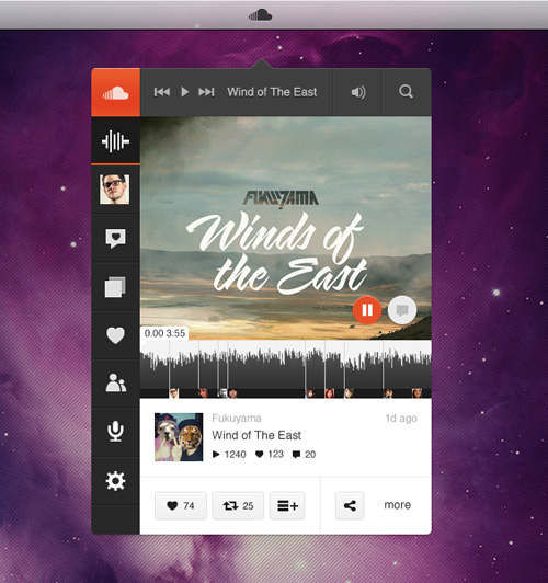 SoundCloud Player App - Music Played Free PSD File
