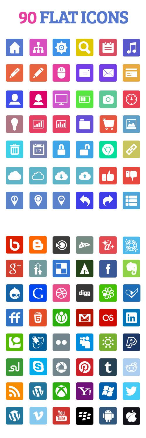 90 Social Media Flat Icons