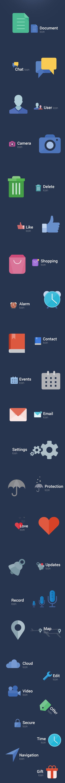 Modern Flat style Free Icon Set