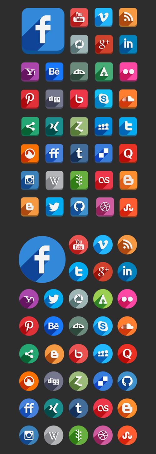 Flat Social Media Buttons