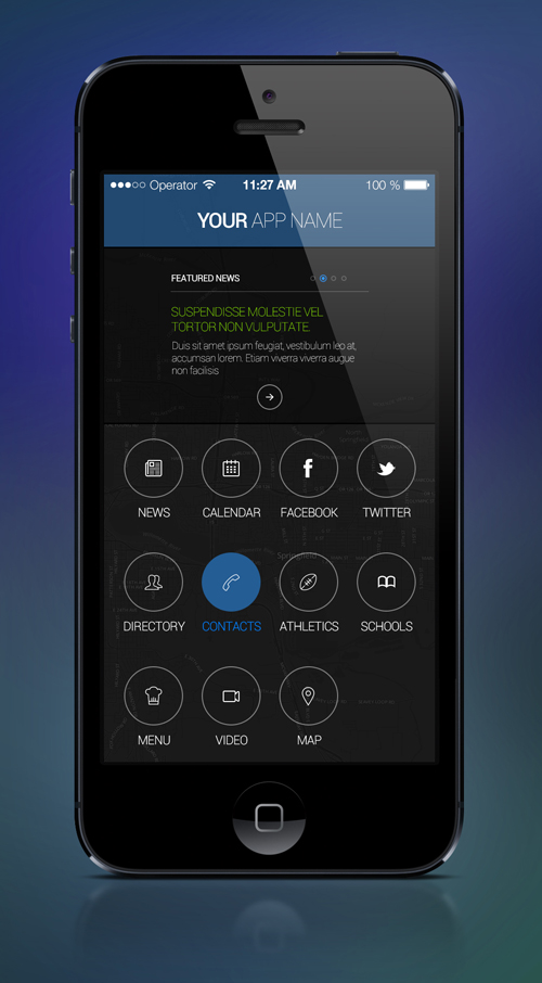 iOS7 Grid Menu and News App Design Free PSD File