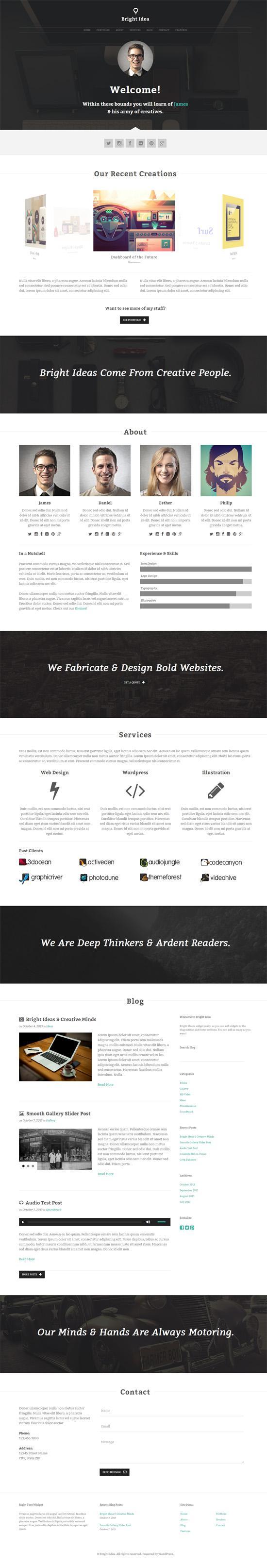 Bright Idea – A Robust One Page Portfolio Theme