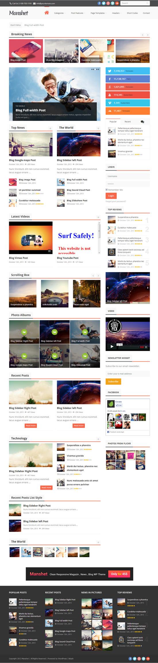 Manshet - Retina Responsive WordPress News, Magazine Theme
