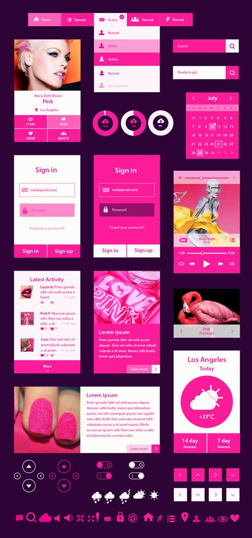 Pinkit Free UI Kit
