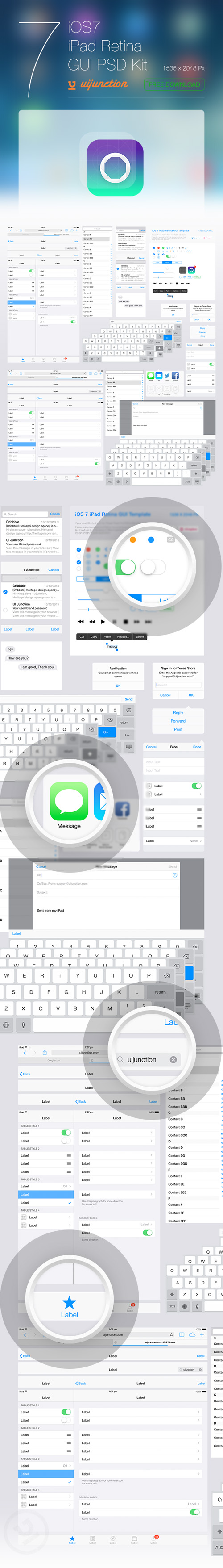 iOS 7 iPad Retina GUI PSD Kit