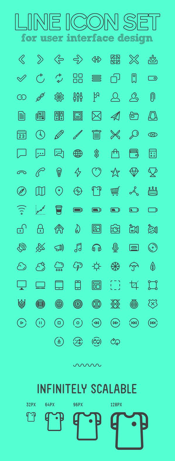 Line Icons Set For UI Design
