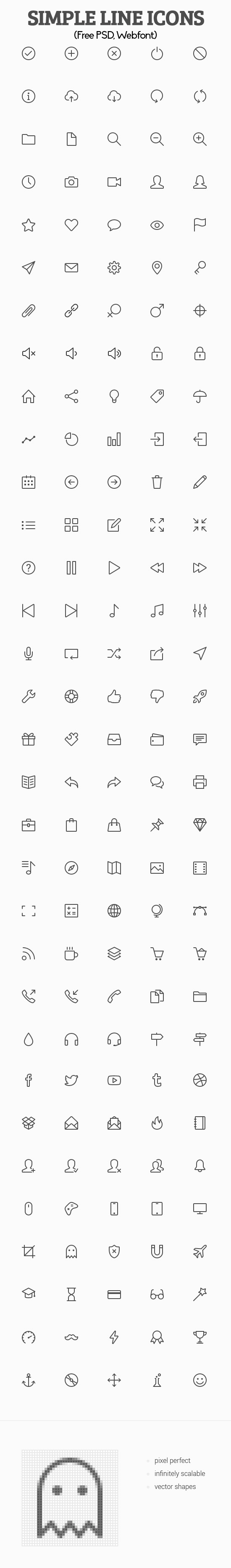 Simple Line Icons (Free PSD, Webfont)