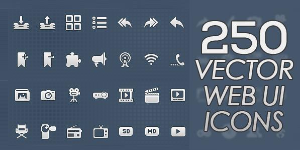 250 High Quality Vector Web UI Icons