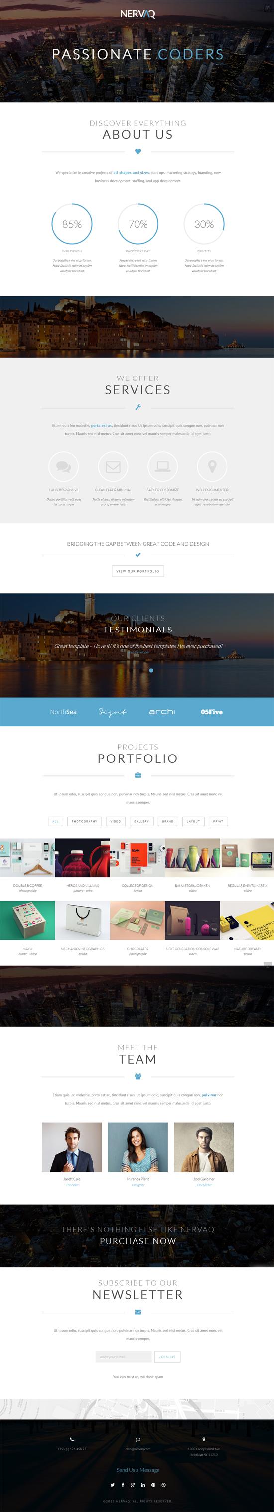 Nervaq - Responsive One Page WordPress Theme