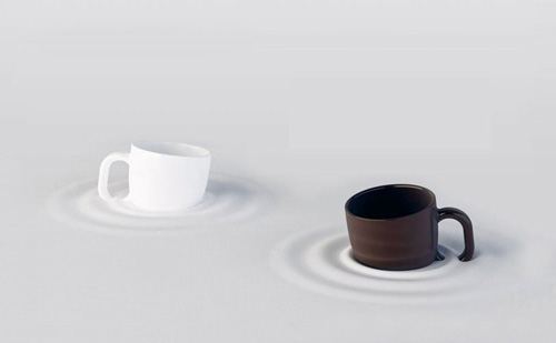 Funny mugs appear to sink into your table