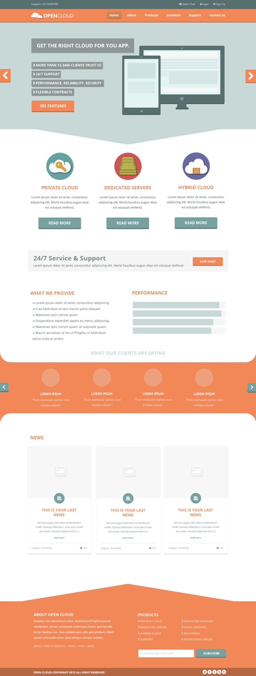 Opencloud - Free PSD Template