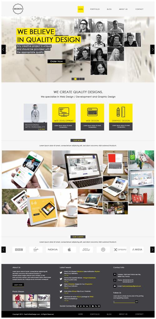 SKOKOV - Free Corporate Web Design Template PSD