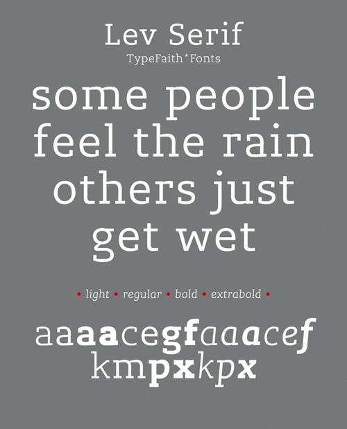 Lev Serif free fonts of year 2013