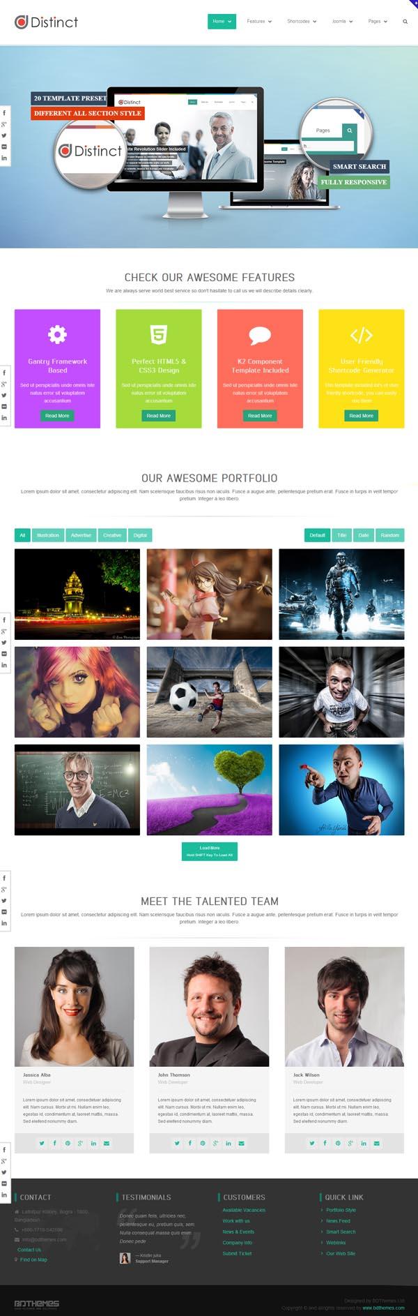 Distinct - Multi-purpose Joomla Template
