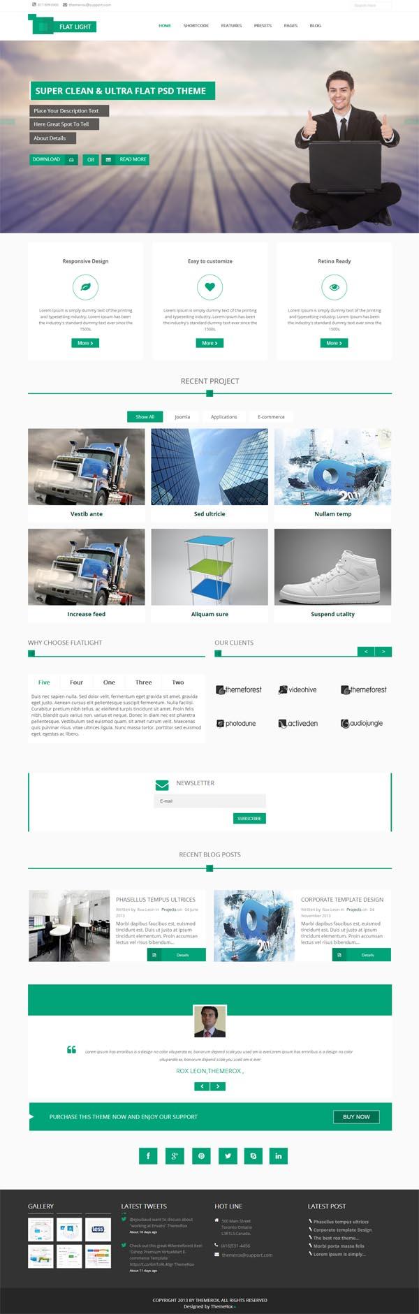 Flatlight Multipurpose Premium Joomla Template