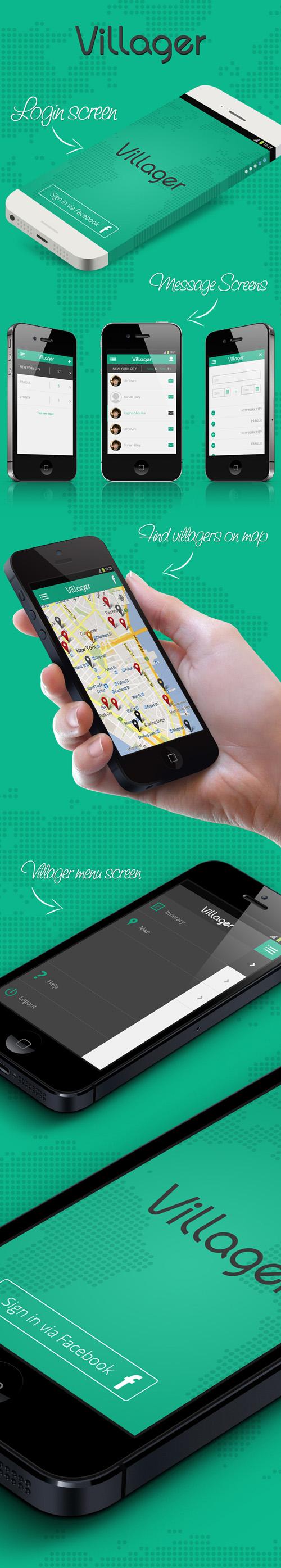 Villagers Find Mobile App UI UX Design for Inspiration