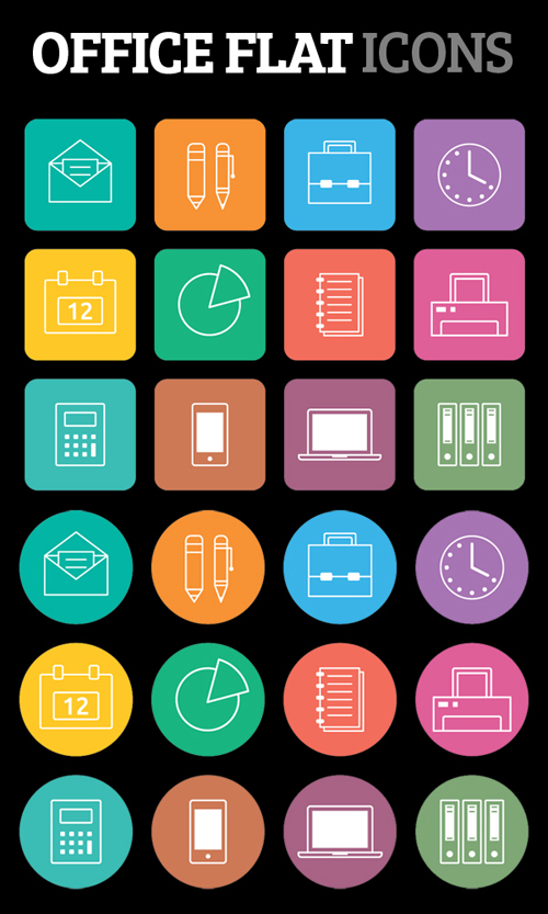 High Quality Free Flat Icons for Office App