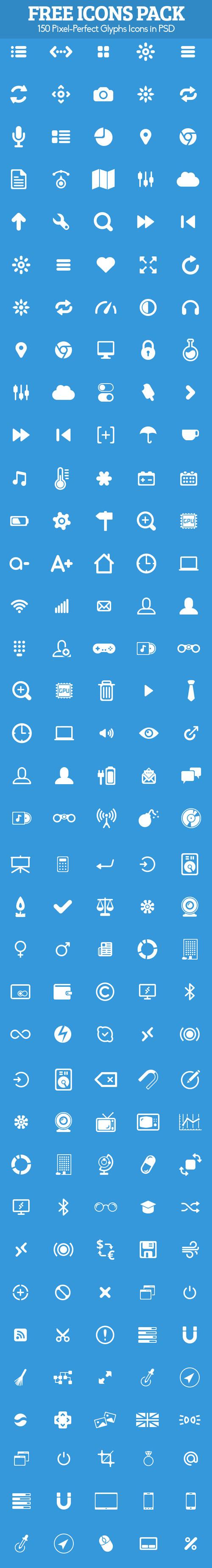 150 Free Glyphs Icons