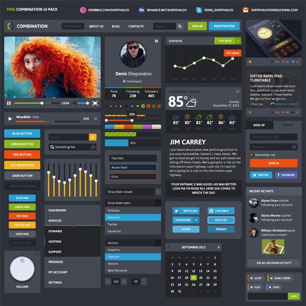 Free Flat UI Kit With Beautiful UI Elements