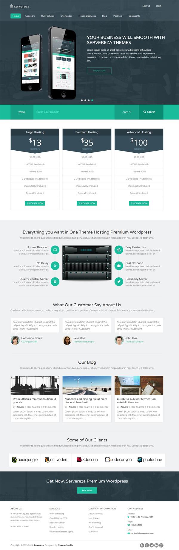 Servereza - Hosting Multipurpose WP Theme