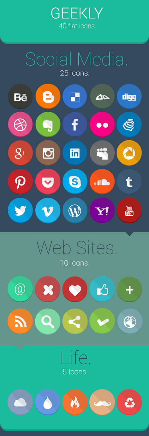 Geekly - 40 Flat Icons