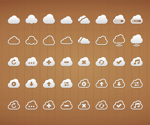 Cloud PSD Icon Set