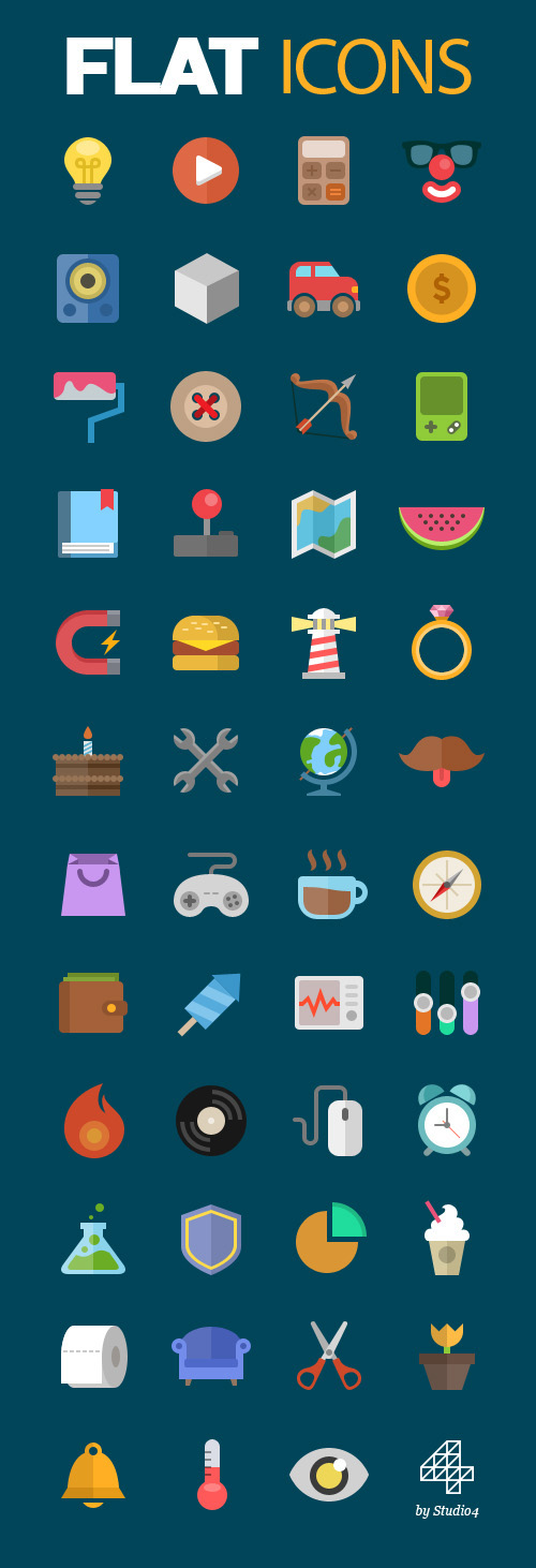 Colorful Flat Vector Icons