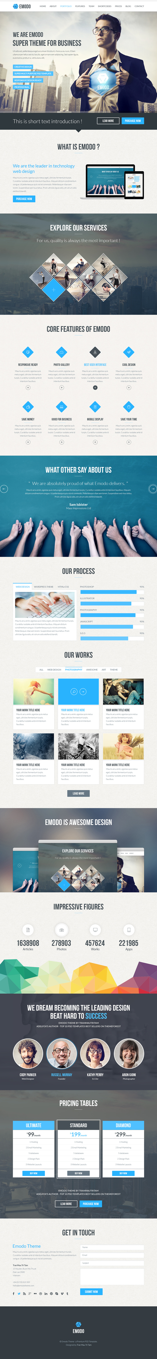 Emodo Premium One-Page Business PSD Template