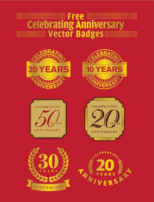 20 Years Anniversary Vector Badges (Ai & eps)