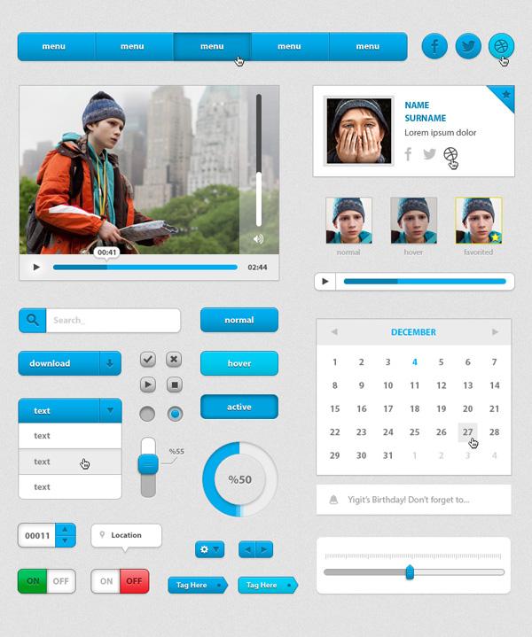Free Blue UI Kit