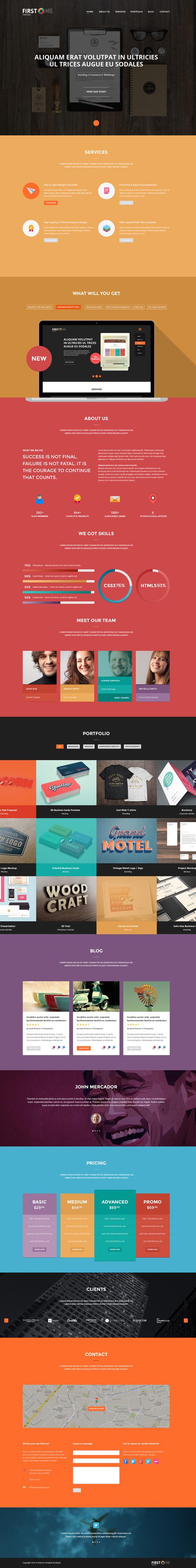 FirstONE – One Page Portfolio PSD Template